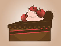 Cake with cherry. Piece of cake with cream and cherries on a light background royalty free illustration