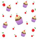 Cake with cherry seamless pattern. Cake sweet dessert for holiday. Vector illustration royalty free illustration