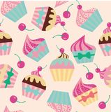 Cake with cherry seamless pattern Vector illustration vector illustration