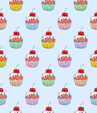 Cake cherry sweet on a blue background. Seamless pattern for design. Animation illustrations. Handwork Stock Photography