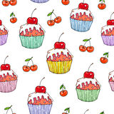 Cake cherry sweet on a white background. Seamless pattern for design. Animation illustrations. Handwork Royalty Free Stock Image