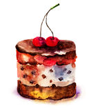 Cake with cherry. Watercolor illustration of cake with cherry Stock Image