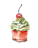 Cake with cherry. Watercolour illustration of cake with cherry Royalty Free Stock Photography