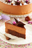 Cake with chestnut mousse brownie. Stock Photos