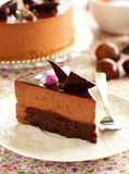 Cake with chestnut mousse brownie. Royalty Free Stock Photography