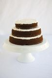 Cake Chocolate. Tiered Chocolate Cake with vanllia filling and dripping chocolate topping and frosting Stock Photos