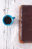 Cake with chocolate. Chocolate cake with caffee, selective focus Royalty Free Stock Images