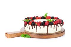 Cake with chocolate and berries Royalty Free Stock Image