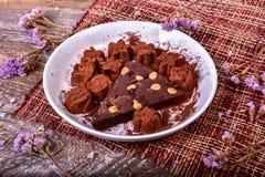 Cake chocolate brownies with dark chocolate Stock Photo