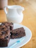 Cake chocolate brownies Stock Photos