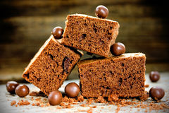 Cake chocolate brownies on wooden background Royalty Free Stock Images