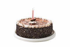 Cake chocolate and candle Royalty Free Stock Photos