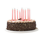 Cake chocolate and candles Stock Photography