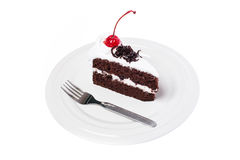 Cake chocolate with cherry Royalty Free Stock Photography