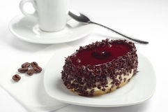 Cake with chocolate and cherry jelly Royalty Free Stock Image