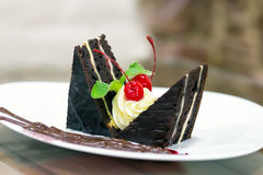 Cake Chocolate Cherry saucer Mint Royalty Free Stock Photography