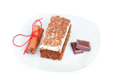 The cake with chocolate and cinnamon sticks. Royalty Free Stock Image