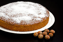 Cake with Chocolate Coconut and Hazelnuts Royalty Free Stock Photography