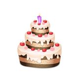 Cake with chocolate and cream, burning candle. Celebratory cake with chocolate and cream, burning candle Royalty Free Stock Images