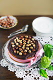 Cake with chocolate ganache, nuts and toasted hazelnuts Stock Photography