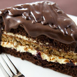 Cake with chocolate glaze. Close up of cake with dark chocolate cake Stock Photo