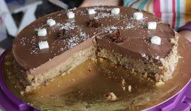 Cake. Chocolate homemade vegan cake. Sweet cake. Vegetarian cake. royalty free stock photo