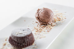 Cake and chocolate ice cream Royalty Free Stock Photo