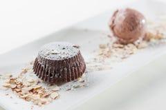 Cake and chocolate ice cream Stock Photo