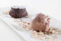 Cake and chocolate ice cream Royalty Free Stock Image