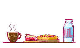 cake, chocolate pie and milk illustration Royalty Free Stock Image
