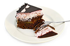 Cake chocolate with pink cream and spoon Stock Images