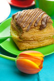 Cake with chocolate on the plate, tulip and a cup Stock Photo