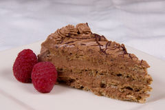 Cake Chocolate with Raspberries Stock Image