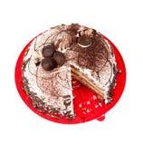 Cake chocolate on red plate Stock Photos