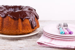 Cake with chocolate sauce Stock Photos