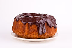 Cake with chocolate sauce Royalty Free Stock Photos