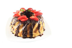 Cake with chocolate and strawberries Stock Photos