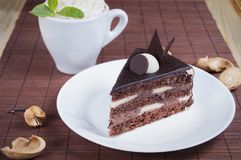 Cake with chocolate on the table Royalty Free Stock Images