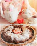 Chocolate muffin dusted with icing sugar Stock Photos