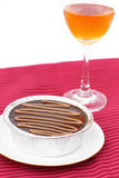 Cake chocolate and wine Stock Image
