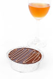 Cake chocolate and wine. On white background Stock Image