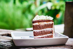 Cake chocolate on the wood backgrounds Royalty Free Stock Photo