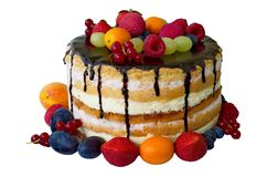 Cake with chokolate and fruits Stock Photography