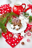 Cake and christmas cookies Stock Images