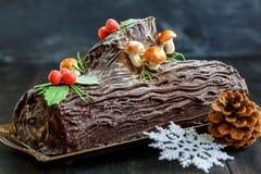 Cake Christmas log. Royalty Free Stock Photo