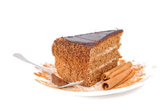 Cake and cinnamon. Slice of chocolate cream cake with cinnamon Royalty Free Stock Photo