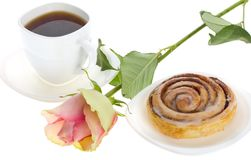 Cake with cinnamon, tea and rose Stock Image