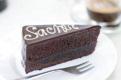 Cake. Close view of a piece of Sacher cake stock images