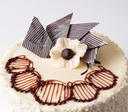 Cake closeup. Closeup of white decorated cake with coconut cuttings Royalty Free Stock Photo