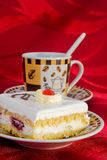 Cake and coffe cup Royalty Free Stock Image